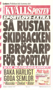 Så rustar skidbacken i Brösarp för Sportlov, löpsedel, Kvällsposten 2012-02-15.